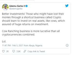 Adamu Garba: Investing In Cows Better Than Cryptocurrency