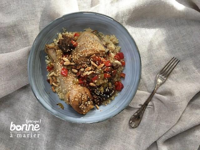 Tajine de poulet aux pruneaux, abricots secs et épices douces