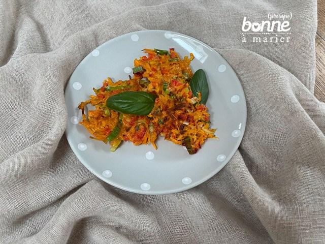 Galettes paillassons aux carottes et poivron