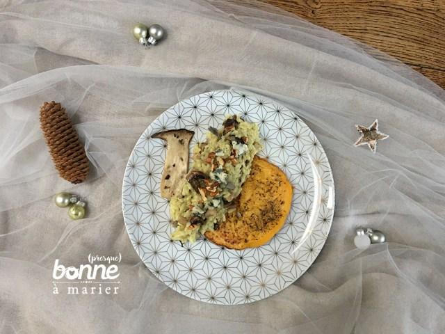 Butternut rôti et risotto aux champignons