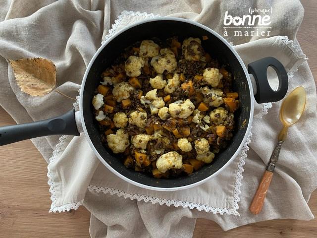 Lentilles vertes au butternut, chou-fleur et curry