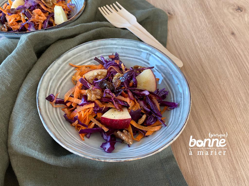 Salade de chou rouge et carottes sauce au miel
