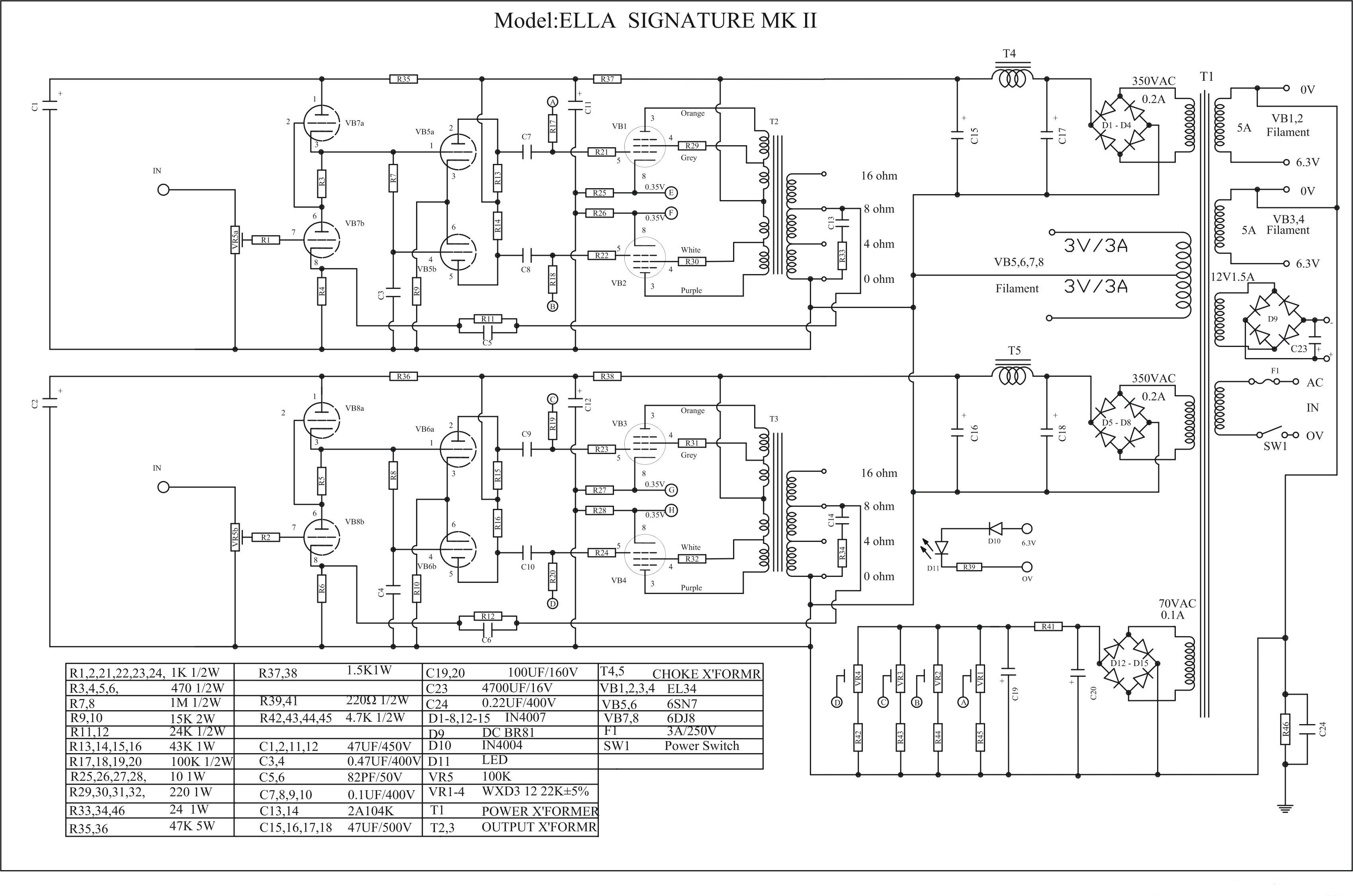 Ella Push Pull EL34/KT88 Amplifier Schematic