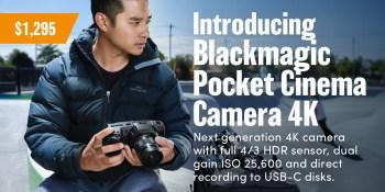 Blackmagic releases the Pocket Cinema Camera 4k!