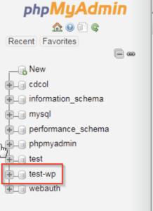Selecting the database in phpMyAdmin, an easy WordPress website fix.