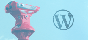 WordPress logo with blue background