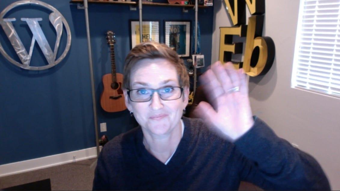 Kori Ashton waving to her camera