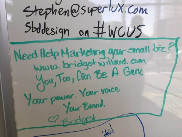 Words of inspiration and self-promotion from Bridget Willard at WordCamp US.
