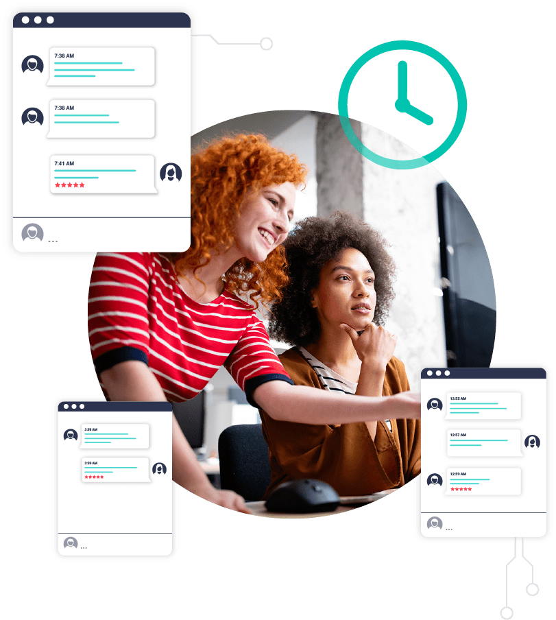 Two customers enjoying Pressable's 24/7 online support