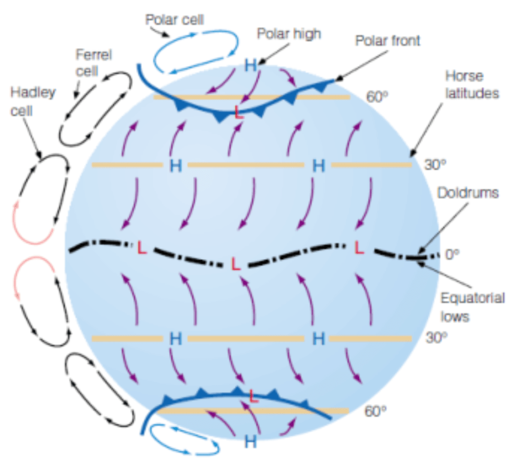 medium resolution of three cell model of the rotating earth and the resulting wind circulations cc by sa 4 0