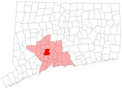 Location of Bethany in New Haven County, Connecticut