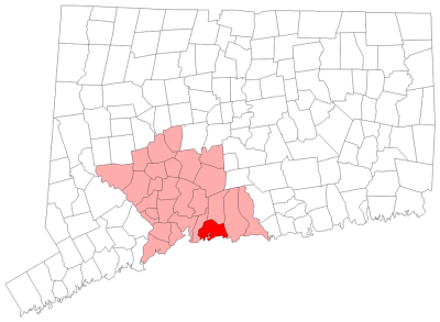 Location of Branford in New Haven County, Connecticut