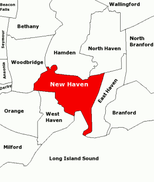 Map of townships in the New Haven Area