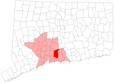 Location of North Branford in New Haven County, Connecticut
