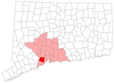Location of Orange in New Haven County, Connecticut