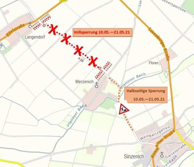 210506 K30 Sperrung Merzenich Langendorf Plan