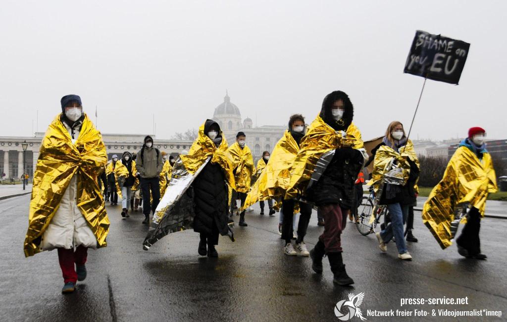 Wien: Protestcamp gegen die österreichische Mirgationspolitik (06.02.2021)