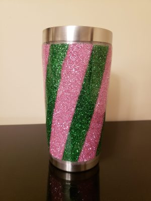 Pink and Green Glitter Tumbler