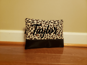 decorated leopard makeup bag