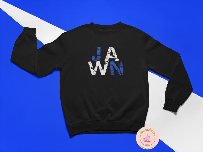 blue and white jawn sweatshirt