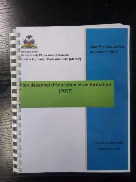 Haïti-Éducation : 441 milliards de gourdes est nécessaire pour la mise en œuvre du Plan Décennal d'Éducation et de Formation (2020-2030) élaboré par le MENFP.