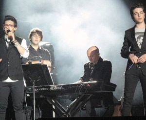 Il Volo performs a concert on stage at Bogota, Colombia.