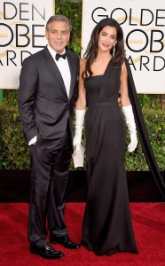 George Clooney looked handsome on the red carpet.