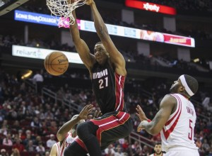 Jan 3, 2015; Houston, TX, USA; Miami Heat center Hassan Whiteside (21) dunks the ball during the fourth quarter against the Houston Rockets at Toyota Center. Mandatory Credit: Troy Taormina-USA TODAY Sports