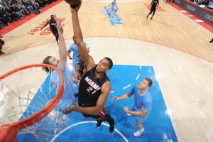 Hassan Whiteside throwing down a one hand jam in Sundays win vs LA Clippers Courtesy of www.thebasketballsociety.com