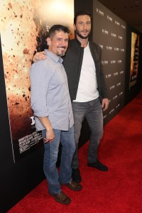 "AVENTURA, FL - JANUARY 07: Kris ""Tanto"" Paronto (L) and Pablo Schreiber attend the Miami Fan Screening of the Pramount Pictures film ""13 Hours: The Secret Soldiers of Benghazi"" at the AMC Aventura on January 7, 2016 in Miami, Florida. (Photo by John Parra/Getty Images for Paramount Pictures) *** Local Caption *** Kris Paronto; Pablo Schreiber"