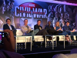 Actors from Captain America: Civil War speak to members of the media in an L.A. press conference.