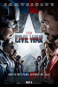The movie poster for Captain America: Civil War features Captain America and Iron Man.