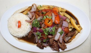 Lomo Saltado is a dish that combines Peruvian and Chinese cuisine.