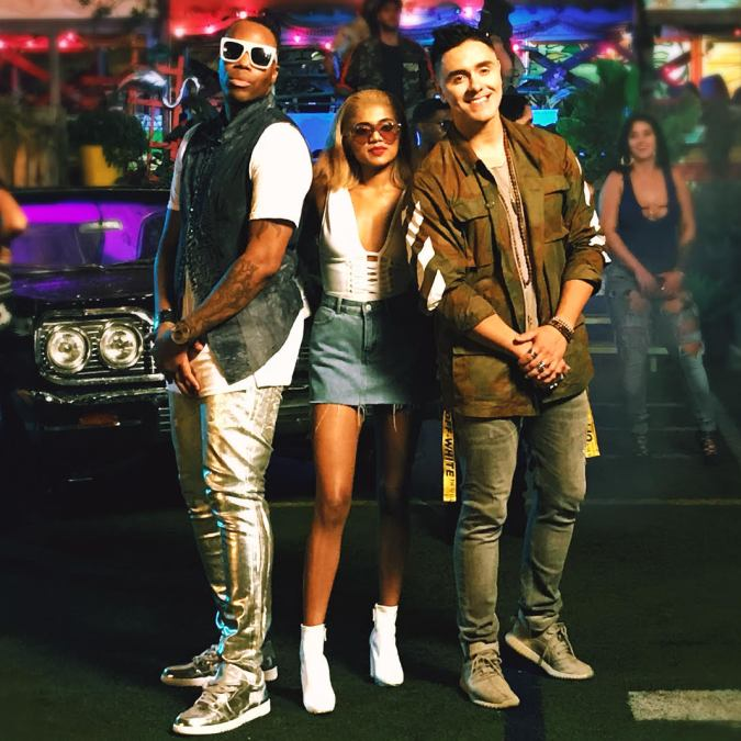 Kardinal, Pree and Joey Montana pose for a quick photo at a video set.