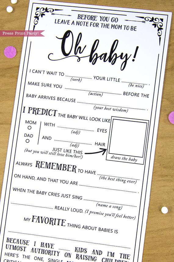Baby Shower Advice Cards : shower, advice, cards, Shower, Advice, Cards,, Libs,, Black, Press, Print, Party!