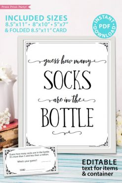 Baby Shower Guess How Many Socks In The Jar Template : shower, guess, socks, template, Guess, Printable, (Rustic, Style), Press, Print, Party!
