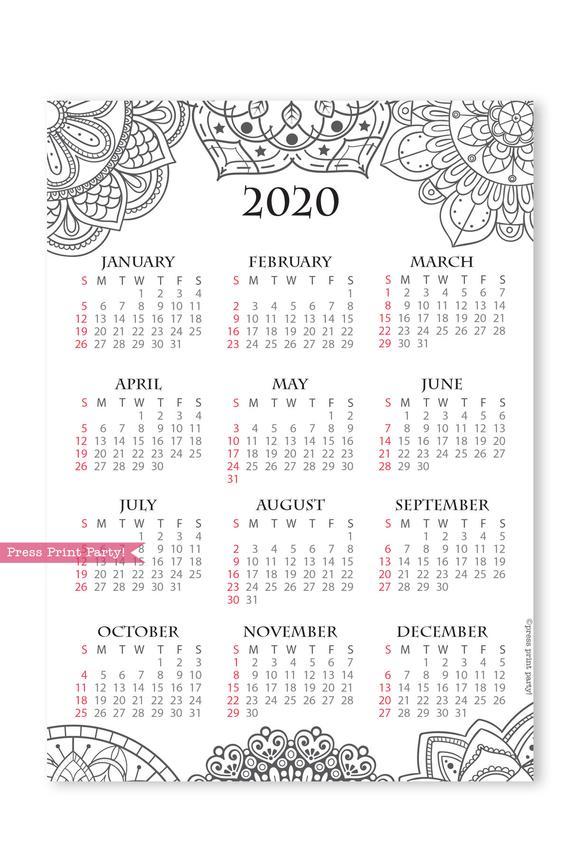 Free Printable Mandala Calendar 2020 Novocom Top