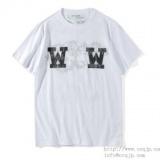 1597422 thum - OFF-WHITE 新作夏 ダブルW オフホワイト 通販 メンズ 半袖Tシャツ クルーネック コットン プリント カジュアル レディース ブラック ホワイト