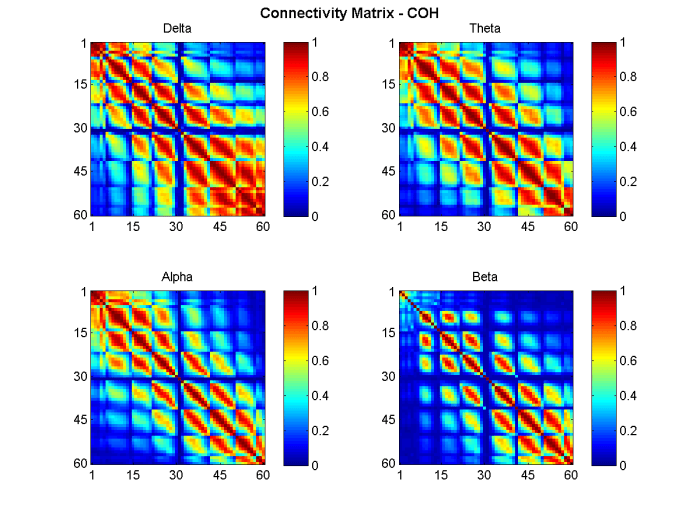 Figure 3: Connectivity Matrix View. Coherence between all EEG channels (60) for the delta, theta, alpha and beta bands.