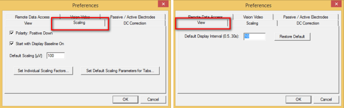 TT02: In the Preferences window select the Scaling tab to adjust the display amplitude settings (left). In the Preferences window select the View tab to customise the temporal display interval (right).