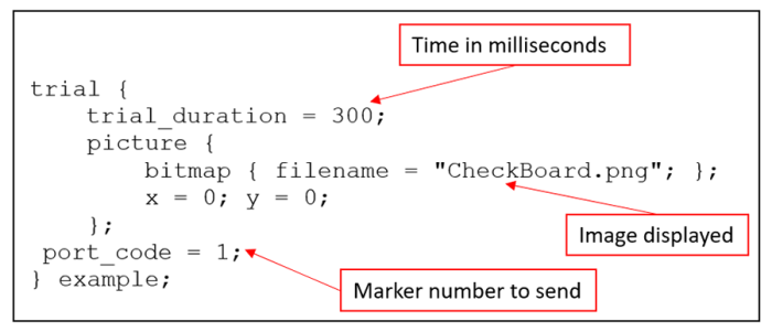 TriggerBox - Figure 8: Assign an output trigger to a trial in Presentation 20.0.