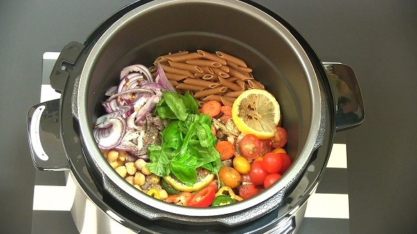 Food in a pressure cooker.