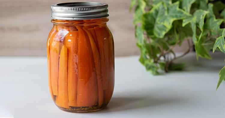 Organic home made dilled canned carrots.