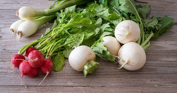 Bunch of white turnips, red radishes and spring onions on wooden table
