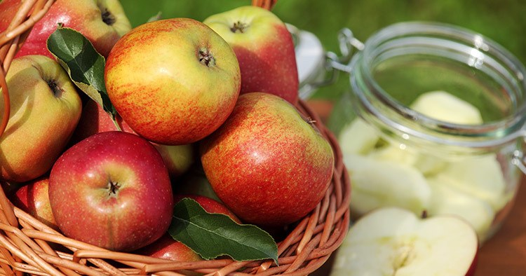 Basket with fresh apples and canning jar.