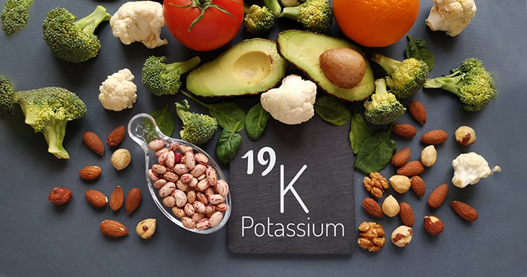 Food rich in potassium with the symbol K and atomic number 19