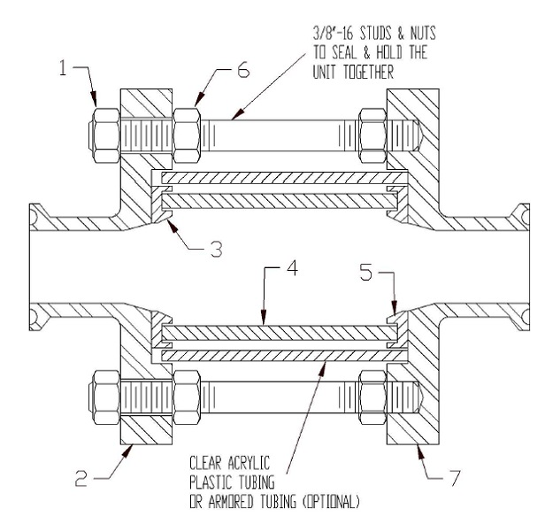 Full View Sanitary Sight Flow Indicator Assembly