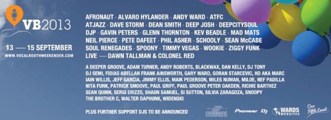 Vocal Booth Weekender 2013 DJ line up