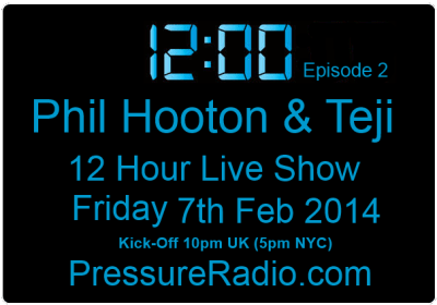 Phil Hooton & Taji 12 hour radio show part 2 flyer