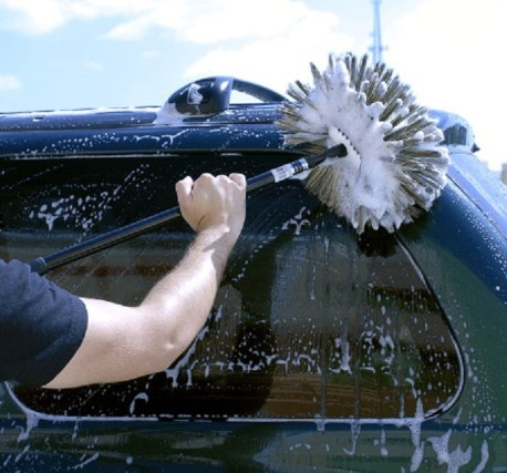 car cleaning with brush